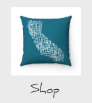 blue California mondiran map pillow