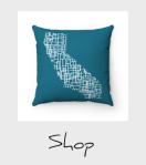 blue California mondiran map pillow