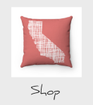 Coral California lines map pillow