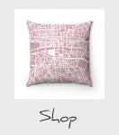 Pink Paris map pillow